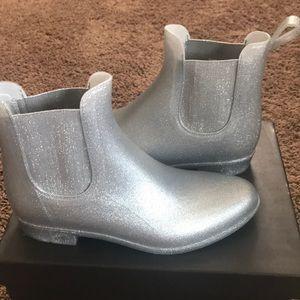 Brand New J Crew Silver Rain Boots Size 8